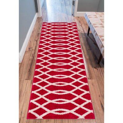 Rubino Poofy Red Area Rug Rug Size: Runner 2 x 73