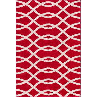 Manning Poofy Red Area Rug Rug Size: 5 x 7