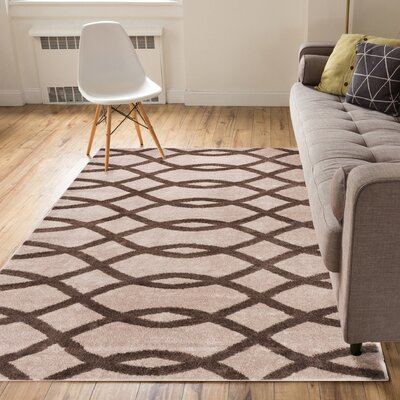 Manning Poofy Brown/Beige Area Rug Rug Size: 5 x 7