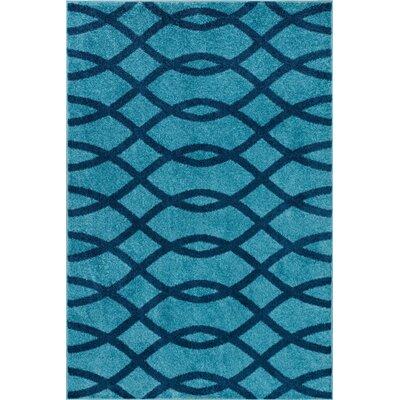 Rubino Poofy Light Blue Area Rug Rug Size: 3'3