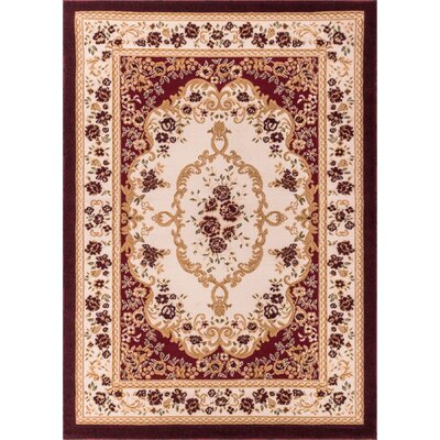 Harbert Red Area Rug Rug Size: 33 x 53
