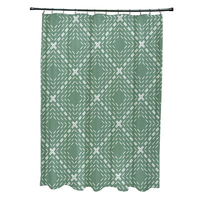 Shirley Dots and Dashes Shower Curtain Color: Green