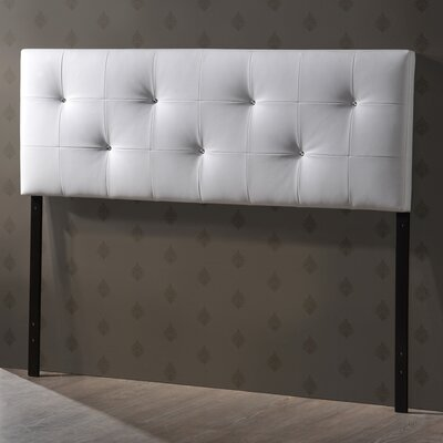 Haffey Upholstered Panel Headboard Upholstery: White, Size: King