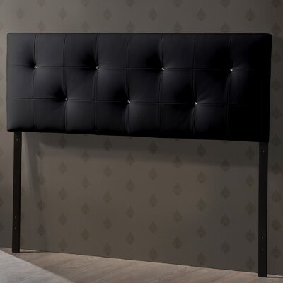 Haffey Upholstered Panel Headboard Upholstery: Black, Size: Queen