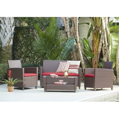 Feltonville 4 Piece Deep Seating Group with Cushion Finish: Brown/Red