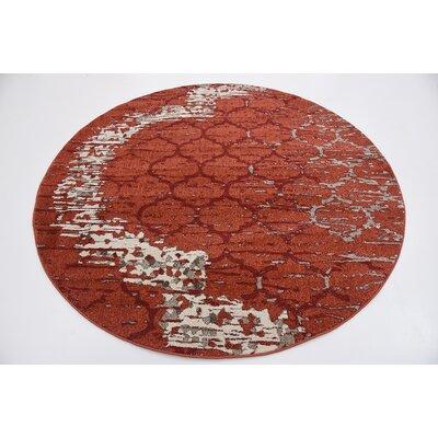 Steinbeck Terracotta Area Rug Rug Size: Round 6'