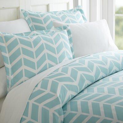 Schnabel Duvet Cover Set Color: Turquoise, Size: King
