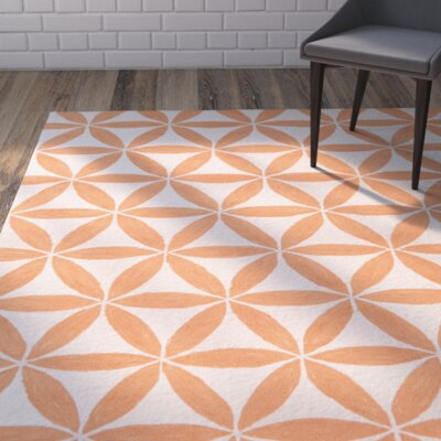 Jordan Hooked Beige/Orange Indoor/Outdoor Area Rug