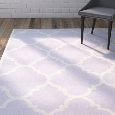 Charlenne Wool Lavander / Ivory Area Rug Rug Size: Rectangle 9 x 12