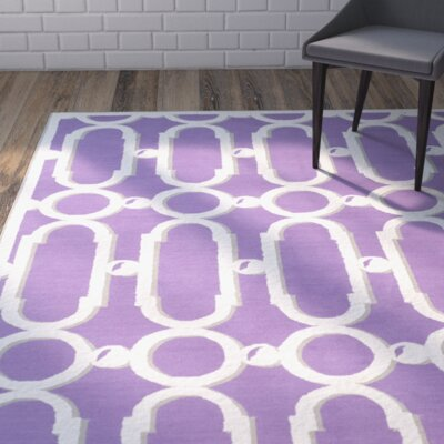 Sheeran Purple/White Geometric Area Rug Rug Size: Runner 23 x 12