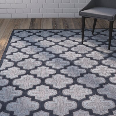 Saul Black/Charcoal Indoor/Outdoor Area Rug Rug Size: 76 x 106