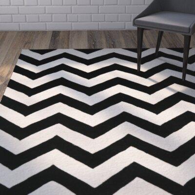 Wilkin Chevron Ivory/Black Area Rug Rug Size: Square 10