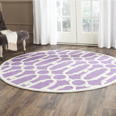 Sheeran Purple/White Geometric Area Rug Rug Size: Round 6