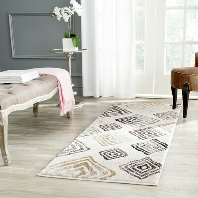 Shroyer Geometric Ivory/Black Area Rug Rug Size: Rectangle 27 x 5