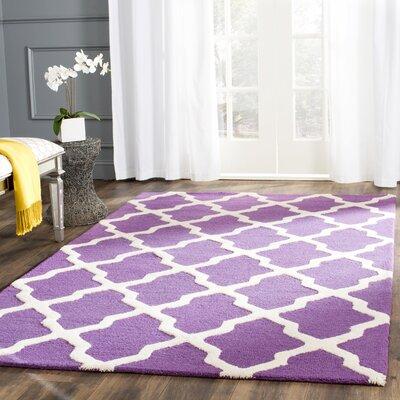 Charlenne Hand-Tufted Purple/Ivory Area Rug Rug Size: Rectangle 10' x 14'