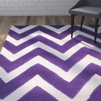Martins Purple / Ivory Area Rug Rug Size: 5 x 8