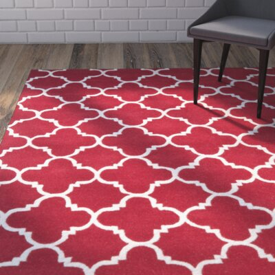 Wilkin Red & Ivory Area Rug Rug Size: 10 x 14