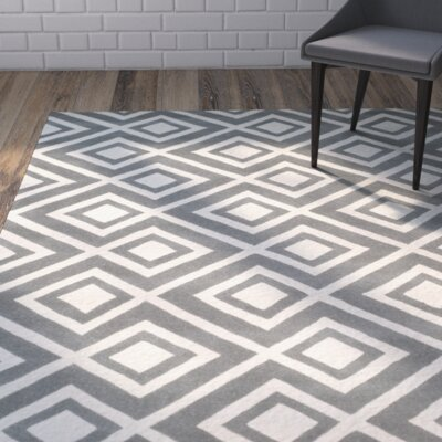 Wilkin Dark Grey & Ivory Area Rug Rug Size: Rectangle 3 x 5