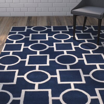 Wilkin Dark Blue / Ivory Rug Rug Size: Rectangle 6 x 9