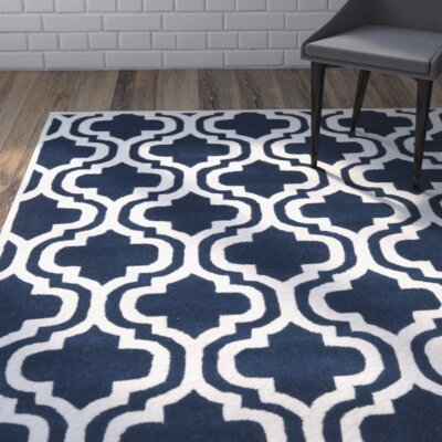 Wilkin Hand-Tufted Dark Blue/Ivory Area Rug Rug Size: Rectangle 89 x 12