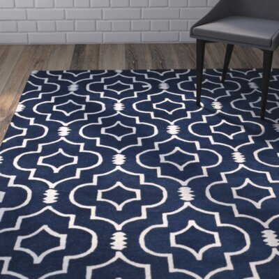 Wilkin Dark Blue & Ivory Area Rug Rug Size: Rectangle 89 x 12