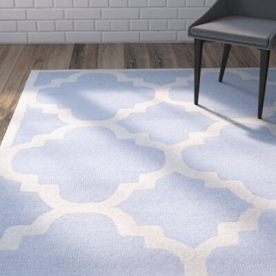 Charlenne Hand-Tufted Light Blue/Ivory Area Rug Rug Size: Rectangle 26 x 4