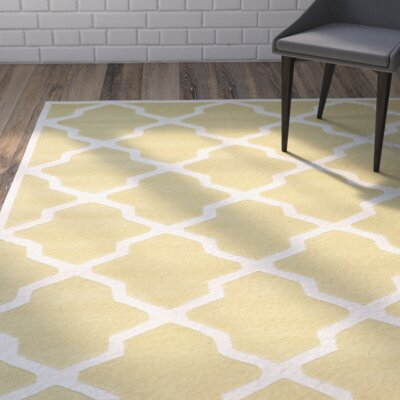 Wilkin Wool Light Gold/Ivory Area Rug Rug Size: Rectangle 6 x 9