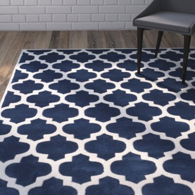 Chatham Blue Geometric Wool Hand-Tufted Area Rug