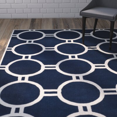 Wilkin Dark Blue / Ivory Rug Rug Size: Rectangle 8 x 10