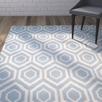 Wilkin Hand-Tufted Blue/Ivory Area Rug Rug Size: Rectangle 3 x 5