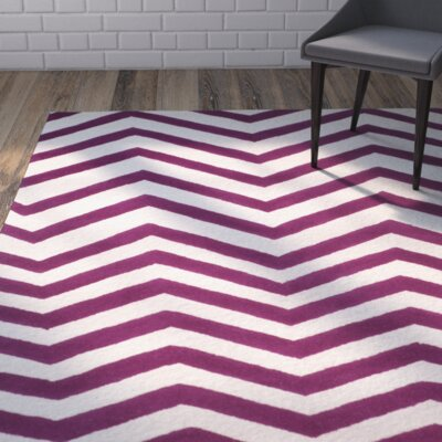 Charlenne Hand-Tufted Ivory/Fuchsia Area Rug Rug Size: Rectangle 8 x 10