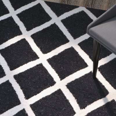 Martins Hand-Tufted Wool Black/White Area Rug Rug Size: Rectangle 3 x 5
