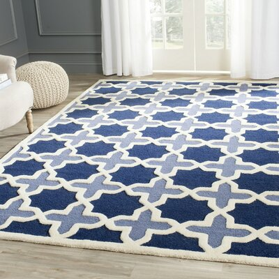 Martins Dark Blue & Ivory Area Rug Rug Size: Rectangle 6 x 9