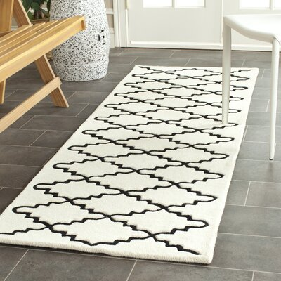 Wilkin Hand-Tufted Wool Ivory/Black Area Rug Rug Size: Runner 23 x 7