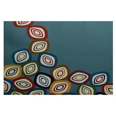 Cotner Falling Leaves Geometric Print Teal Indoor/Outdoor Area Rug