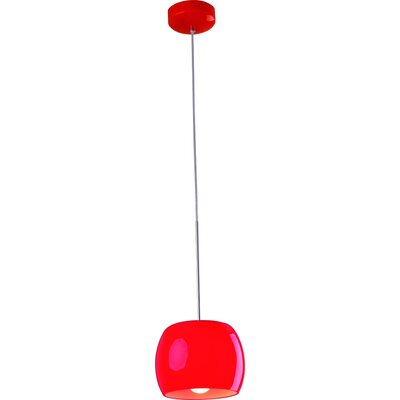 Knighten 1-Light Pendant Glass Color: Red Gloss