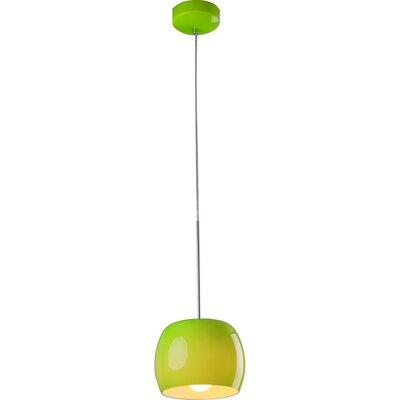 Knighten 1-Light Pendant Glass Color: Green Gloss