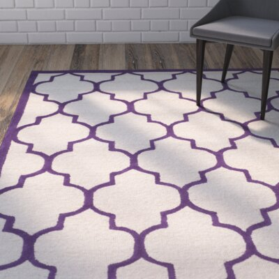 Charlenne Hand-Tufted Ivory/Purple Area Rug Rug Size: Rectangle 9 x 12