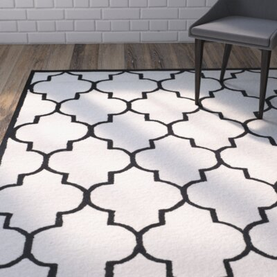 Charlenne Hand-Tufted Ivory/Black Area Rug Rug Size: Rectangle 26 x 4