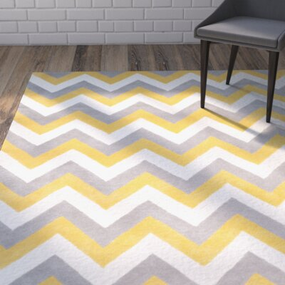 Charlenne Grey & Gold Area Rug Rug Size: Rectangle 4 x 6