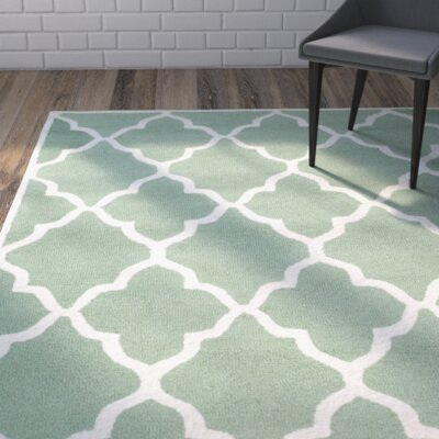 Charlenne Hand-Tufted Teal/Ivory Area Rug Rug Size: Rectangle 8 x 10