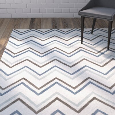 Charlenne Ivory / Blue Chevron Area Rug Rug Size: Rectangle 26 x 4