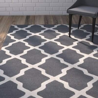 Charlenne Wool Dark Gray/Ivory Area Rug Rug Size: Rectangle 4 x 6