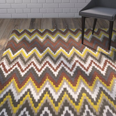 Sonny Hand-Woven Cotton Brown/Citron Area Rug Rug Size: Rectangle 73 x 93