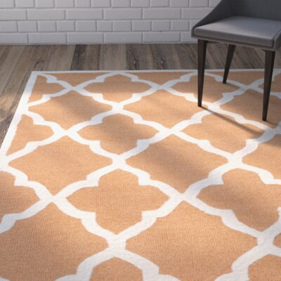 Charlenne Hand-Tufted Orange/Ivory Area Rug Rug Size: Rectangle 2 x 3