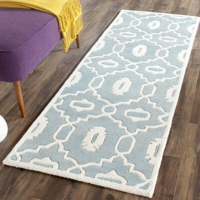Wilkin Moroccan Hand-Tufted Wool Blue/Ivory Area Rug Rug Size: Runner 23 x 11