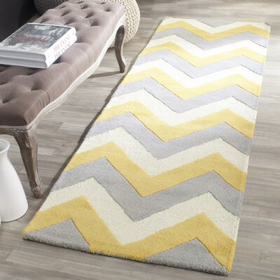 Martins Grey & Gold Area Rug Rug Size: Runner 2'6