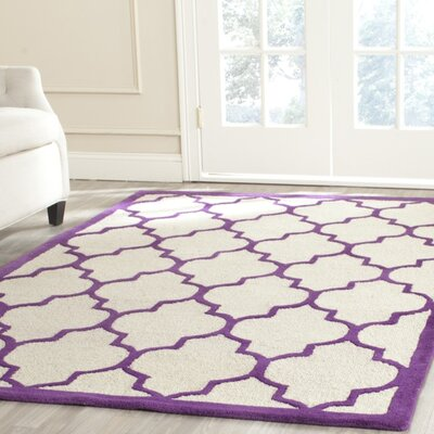 Charlene Hand-Tufted Ivory/Purple Area Rug Rug Size: Rectangle 3 x 5