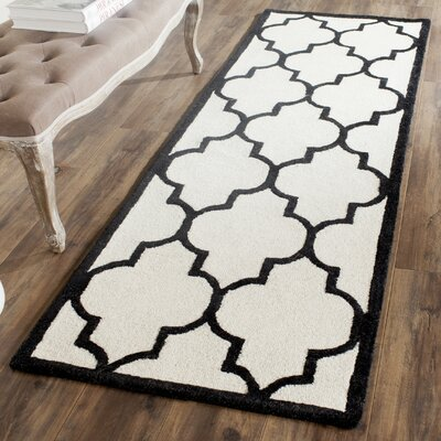 Martins Ivory / Black Area Rug Rug Size: Runner 26 x 6