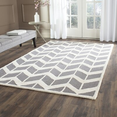 Martins Hand-Woven Wool Dark Gray/Ivory Area Rug Rug Size: Rectangle 3 x 5